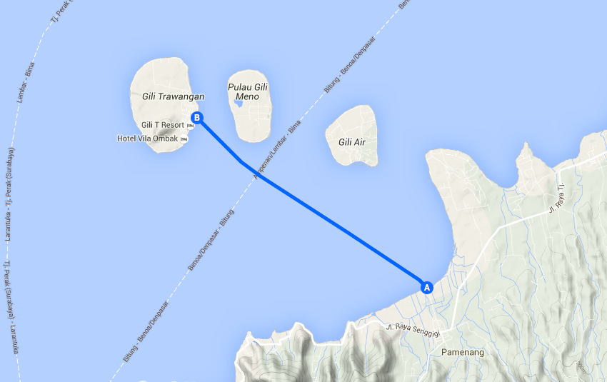 Fast boat route from Teluk Kode to Gili Trawangan