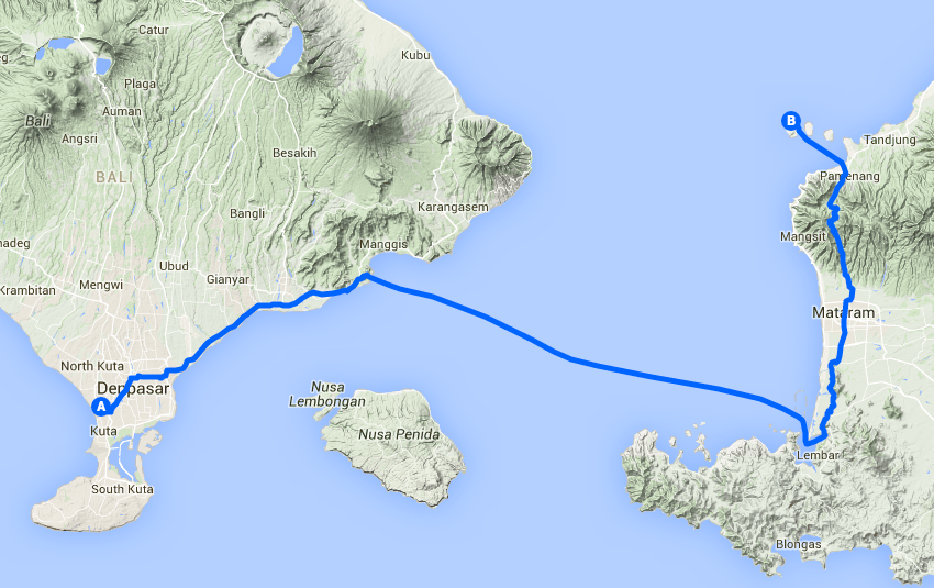 Slow route from Bali to Gili Trawangan