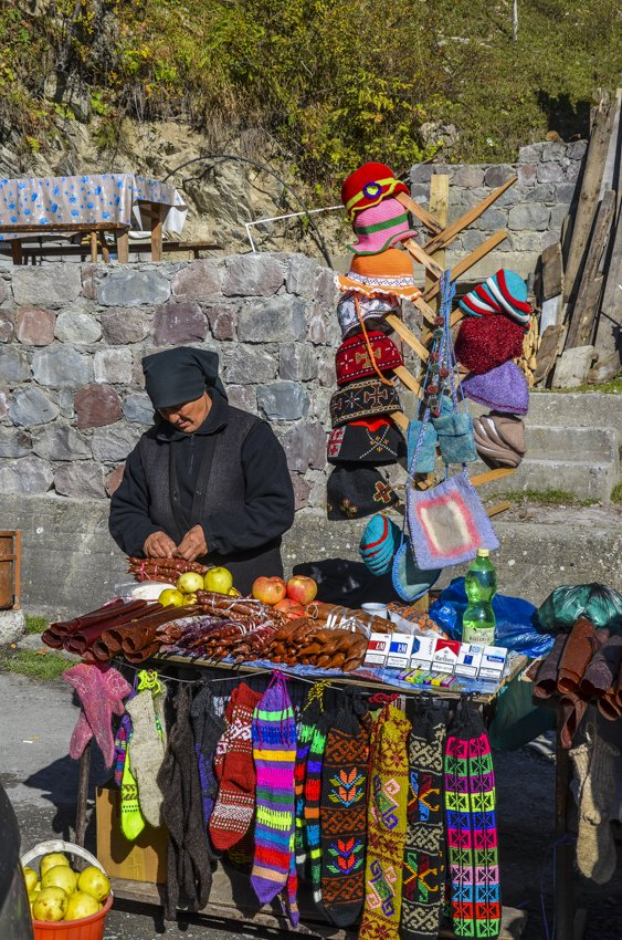 Stall on the side of teh road driving out of Kazbegi