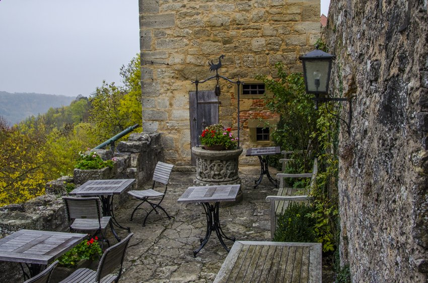 Terrace at Burg Hotel, Rothenburg ob der Tauber