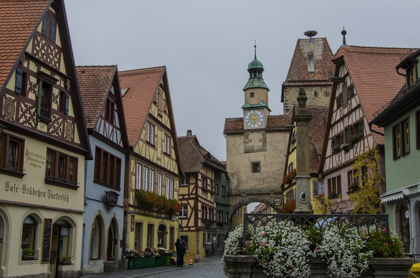 One of the many city gates and half wooded houses in Rothenburg
