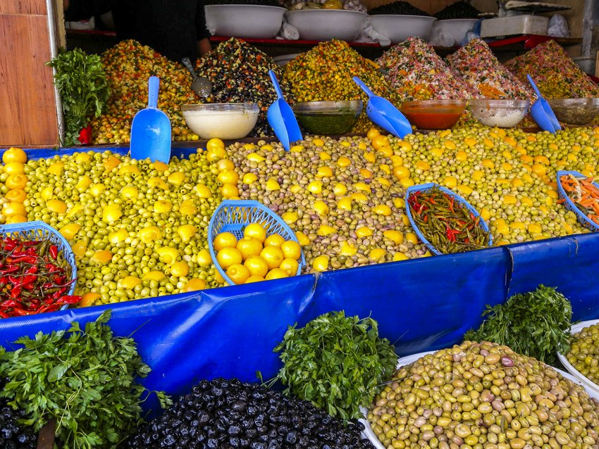 Olives for sale in the medina in Casablanca