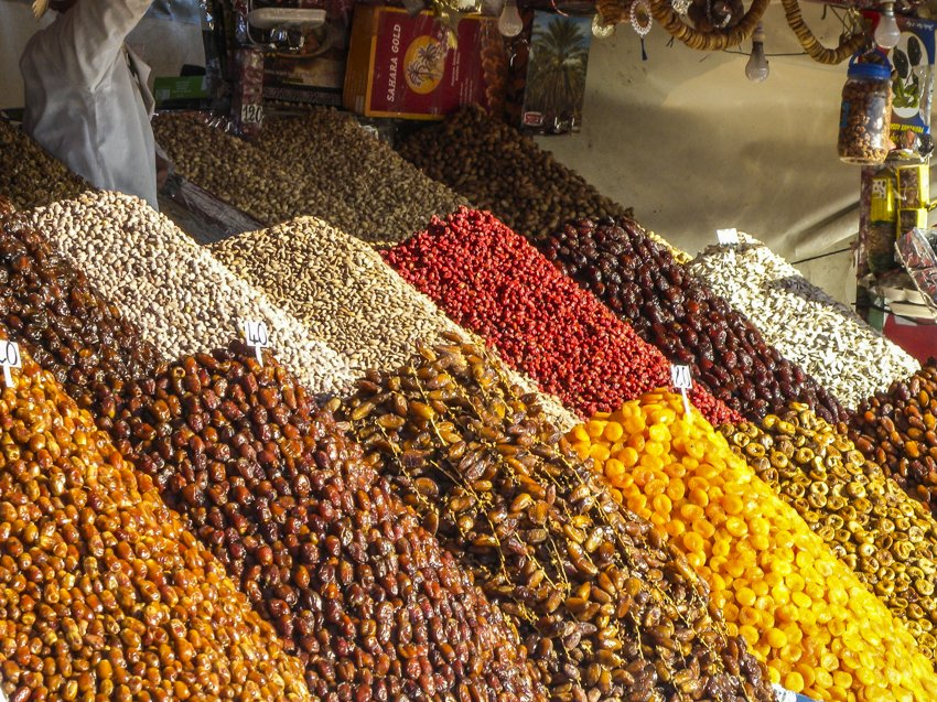 Dried fruits for sale in Jemaa el Fna, Marrakech