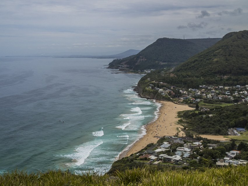 View of Stanwell Park from Stawell Tops, summer day trip from Sydney